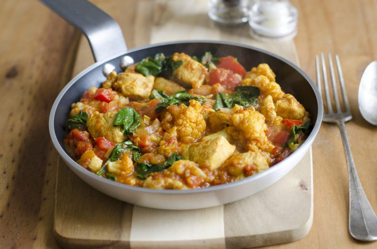 Currykip met groente