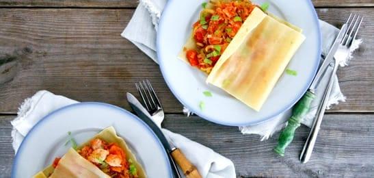 Lasagneflapjes gevuld met vis