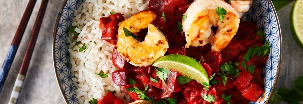 Kruidige curry van bietjes met garnalen