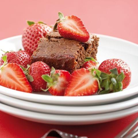 chocoladecake aardbeien