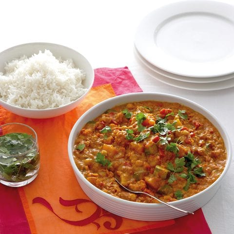 Vegetarische curry pompoen bloemkool