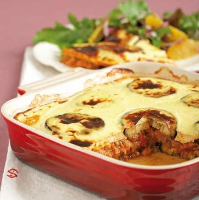 Moussaka met linzen en tomaten