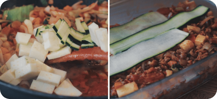 vegan low carb courgette lasagne